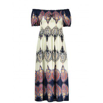 Puff Sleeve Midi Dress with Arab Print