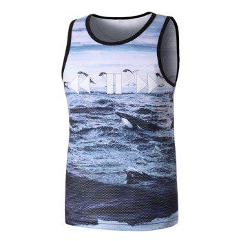 Ocean Sea Penguin Printed Mesh Tank Top