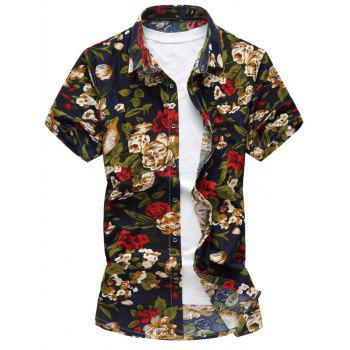 Stretch Flower Print Short Sleeve Shirt