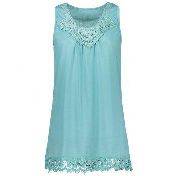 Sleeveless Tank T-Shirt with Lace Trim