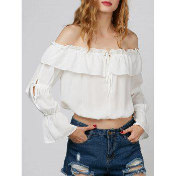 Off The Shoulder Cropped Flowy Chiffon Blouse