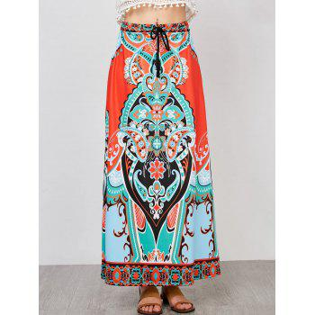 High Waisted Tribal Print A Line Maxi Skirt