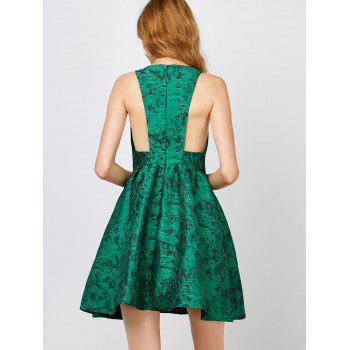 Textured Jacquard Cut Out Sleeveless Dress - GREEN S
