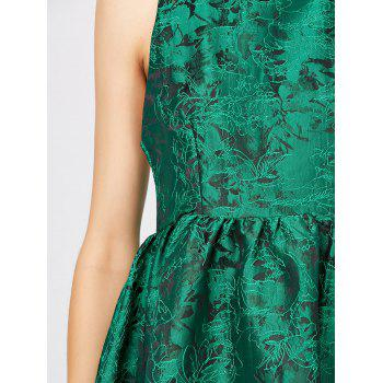 Textured Jacquard Cut Out Sleeveless Dress - GREEN L
