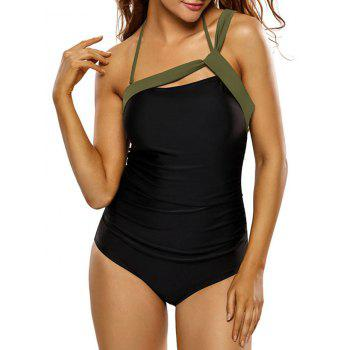 Halter Ribbon Panel One-Piece Swimsuit