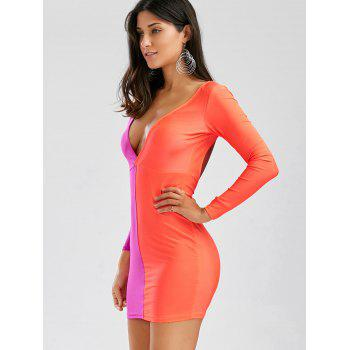 Women's Polyester Color Matching Off Breast Stitching Hollow Out Backless Packet Buttock Alluring Cut Out Dress - ORANGE RED S