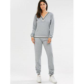 Chic V-Neck Striped Long Sleeve Sweatshirt + Fitted Pants Twinset For Women - GRAY S