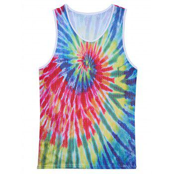 Openwork Colorful Tie Dye Print Tank Top