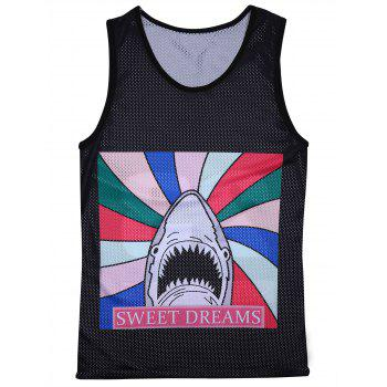 3D Cartoon Shark Graphic Print Sport Openwork Tank Top