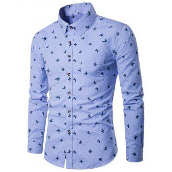 Butterflies Polka Dot Print Long Sleeve Shirt