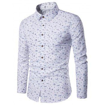 Tiny Floral Print Long Sleeve Pocket Shirt