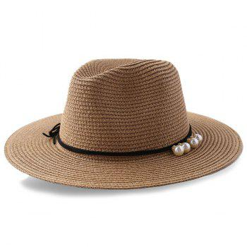 Beach Artificial Pearl Embellished Straw Hat