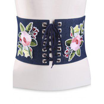 Flowers Embroidered Lace Up Oversize Ethnic Belt - CERULEAN CERULEAN