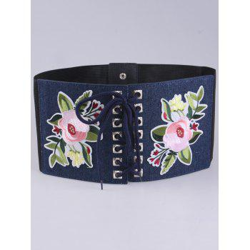 Flowers Embroidered Lace Up Oversize Ethnic Belt -  CERULEAN
