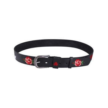 Flower Heart Embroidered Faux Leather Belt -  BLACK