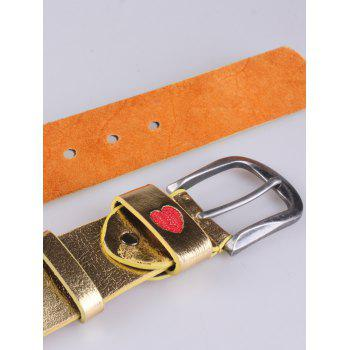 Flower Heart Embroidered Faux Leather Belt -  GOLDEN