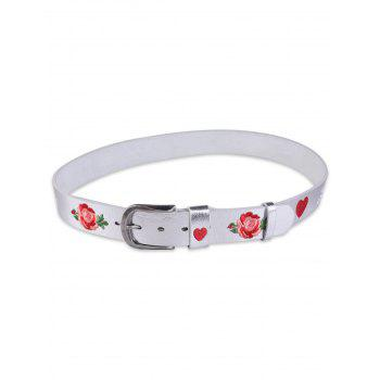 Flower Heart Embroidered Faux Leather Belt