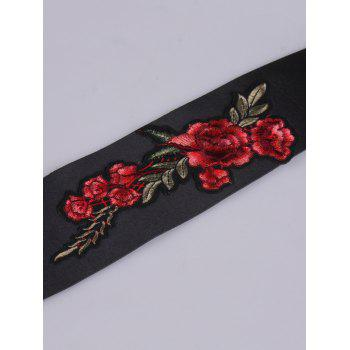 Floral Embroidered Retro Wide Corset Belt -  BLACK