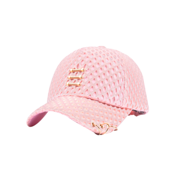 Metallic Sticks Circles Mesh Layered Baseball Cap