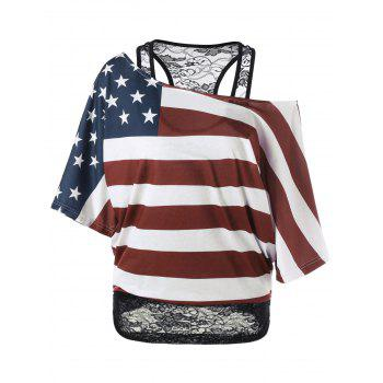 Skew Collar Lace Trim American Flag T-Shirt