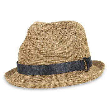 Breathable Curly Brim Ribbon Retro Straw Hat