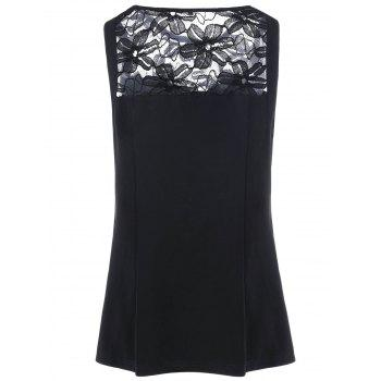 Mesh Insert Bow Embellished Plus Size Tank Top - BLACK BLACK