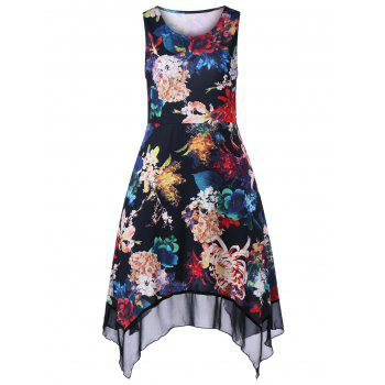 Floral Blossom Plus Size Asymmetric Swing Dress