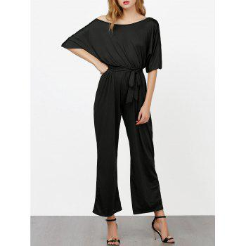 Elastic Waist Belted Skew Neck Jumpsuit - BLACK XL