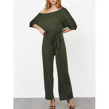 Elastic Waist Belted Skew Neck Jumpsuit - ARMY GREEN S