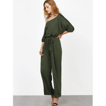 Elastic Waist Belted Skew Neck Jumpsuit - ARMY GREEN ARMY GREEN