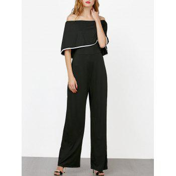 Off The Shoulder Contrast Piped Jumpsuit