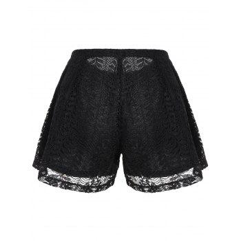 High Waisted Double Layer Lace Shorts - BLACK BLACK
