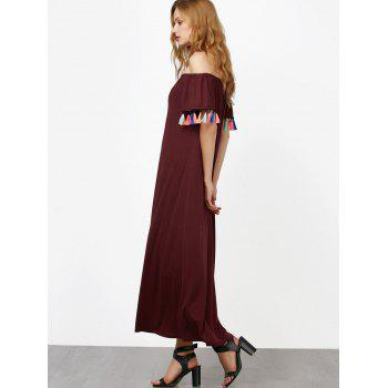 Off The Shoulder Short Sleeve Maxi Dress - WINE RED WINE RED