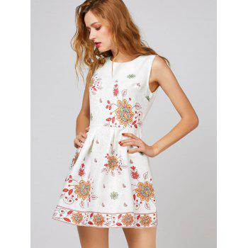 Floral A Line Sleeveless Short Dress - WHITE WHITE