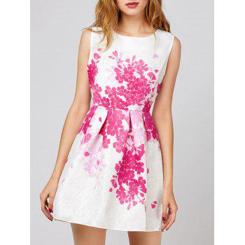 Floral Sleeveless Short Dress - WHITE L