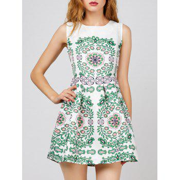 Floral Print Sleeveless Short Dress - WHITE XL