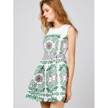 Floral Print Sleeveless Short Dress - WHITE WHITE