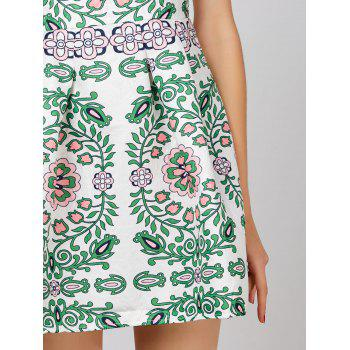 Floral Print Sleeveless Short Dress - XL XL