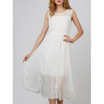 Lace Insert Tea Length Chiffon Dress