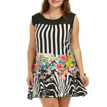 Floral Striped Plus Size Sleeveless Tunic Dress