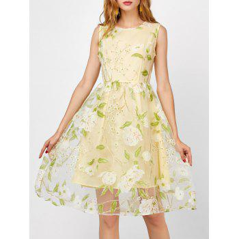 High Waisted Floral Print Organza Dress