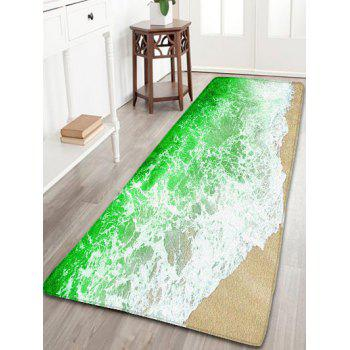 Sea Tides Print Skidproof Flannel Bathroom Rug Green W2