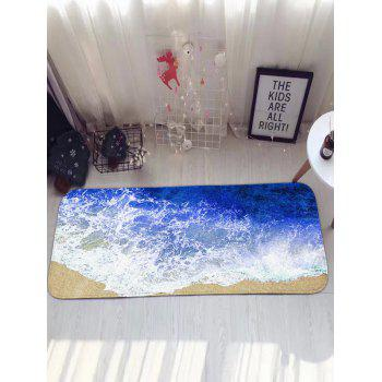 Sea Beach Print Antislip Flannel Water Absorption Bathroom Rug - BLUE BLUE