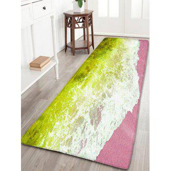 Sea Tide Print Water Absorption Flannel Skidproof Bathroom Rug - YELLOW W20 INCH * L31.5 INCH