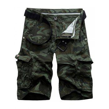 Knee Length Cargo Camo Shorts - ARMY GREEN 34