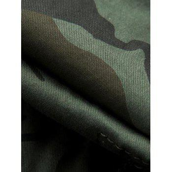 Knee Length Cargo Camo Shorts - COFFEE COFFEE
