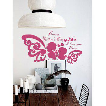Happy Mothers day Heart Wall Sticker - DEEP PINK DEEP PINK