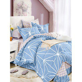 Queen Size Comfortable Printed 4Pcs Bedding Set - BLUE QUEEN