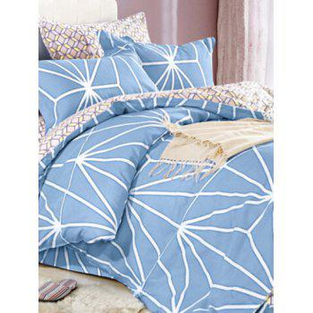 Queen Size Comfortable Printed 4Pcs Bedding Set - BLUE BLUE