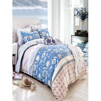 Queen Size Flower Printing Comfortable 4Pcs Bedding Set - BLUE BLUE